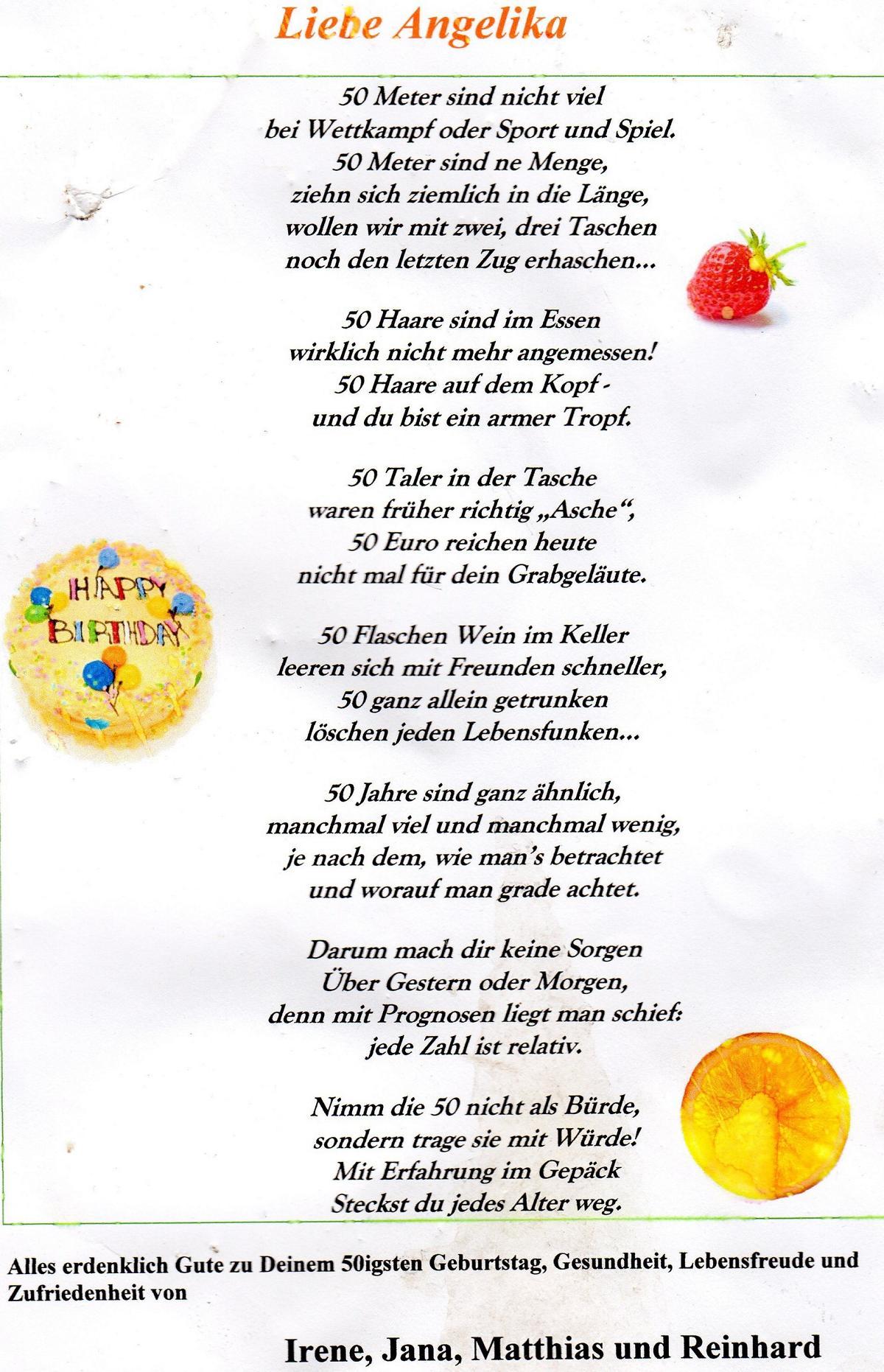 Spruch gedicht zum 50 geburtstag