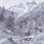 Drei Türme vom Gauertal, ein Bild von Compton aus dem Jahr 1909