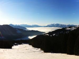 Laterns Gapfohl - erster Schitag dieser Saison, teilweise Nebel im Rheintal